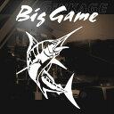 Big Game 釣り ステッカー カジキ ステッカー トロリーング サイズ:20cm×16cm 右向き(白色) 車 ステッカー リアガラス ステッカー 車