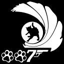 猫ステッカー 肉球7 危機一髪 007パロディーサイズ:16cm×16cm猫グッズ 猫雑貨 ネコ雑貨 ねこ雑貨かわいい ねこ シー…