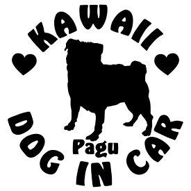 パグ ステッカー 犬 ステッカー かわいいDOG IN CAR ステッカー サイズ:16cm×16cm車 ステッカー 車用 リアガラス ステッカー犬ステッカー パグ