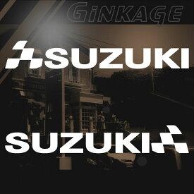 スズキ SUZUKI バイク 車 ステッカー チェッカー エンブレム 枠サイズ:3cm×15cm 左右反転セット カッティング スポーツ バイク車用 ドレスアップ 外装 パーツ バイク用品 かっこいい デカール ステッカー