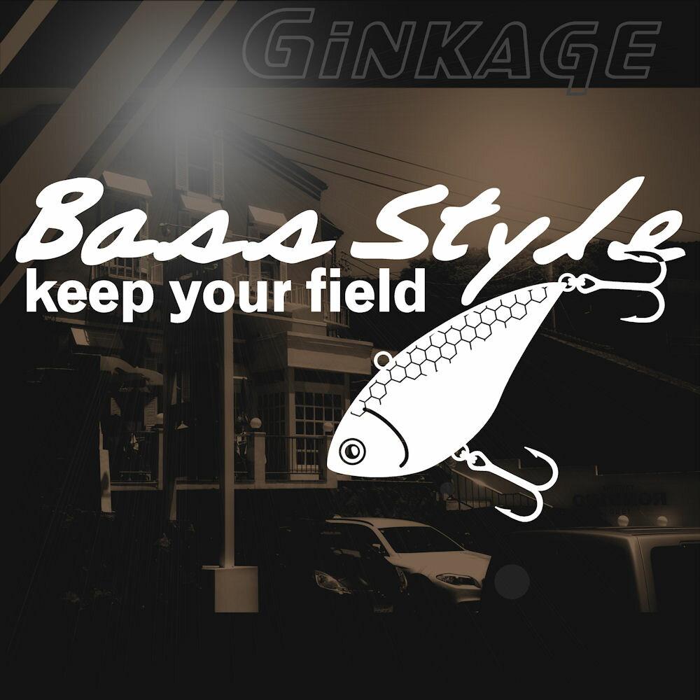 ブラックバス ステッカー Bass style 釣り モラル枠サイズ:16cm×横30cm カッティング BASS FISHING 車 リアガラス用 ステッカー 車