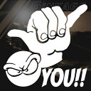 ステッカー サーフ ハワイアン シャカサイン 枠サイズ:24cm×24cm カッティング 車 アウトドア スーツケース ボード…