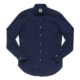Bagutta(バグッタ)コットンツイルセルフストライプワイドカラーシャツ BERLINOJ/05683 11062001054