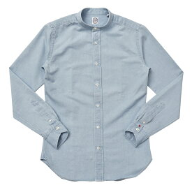 BOLZONELLA(ボルゾネッラ)ブリーチアウトコットンシャンブレーバンドカラーシャツ E9012 11071008025