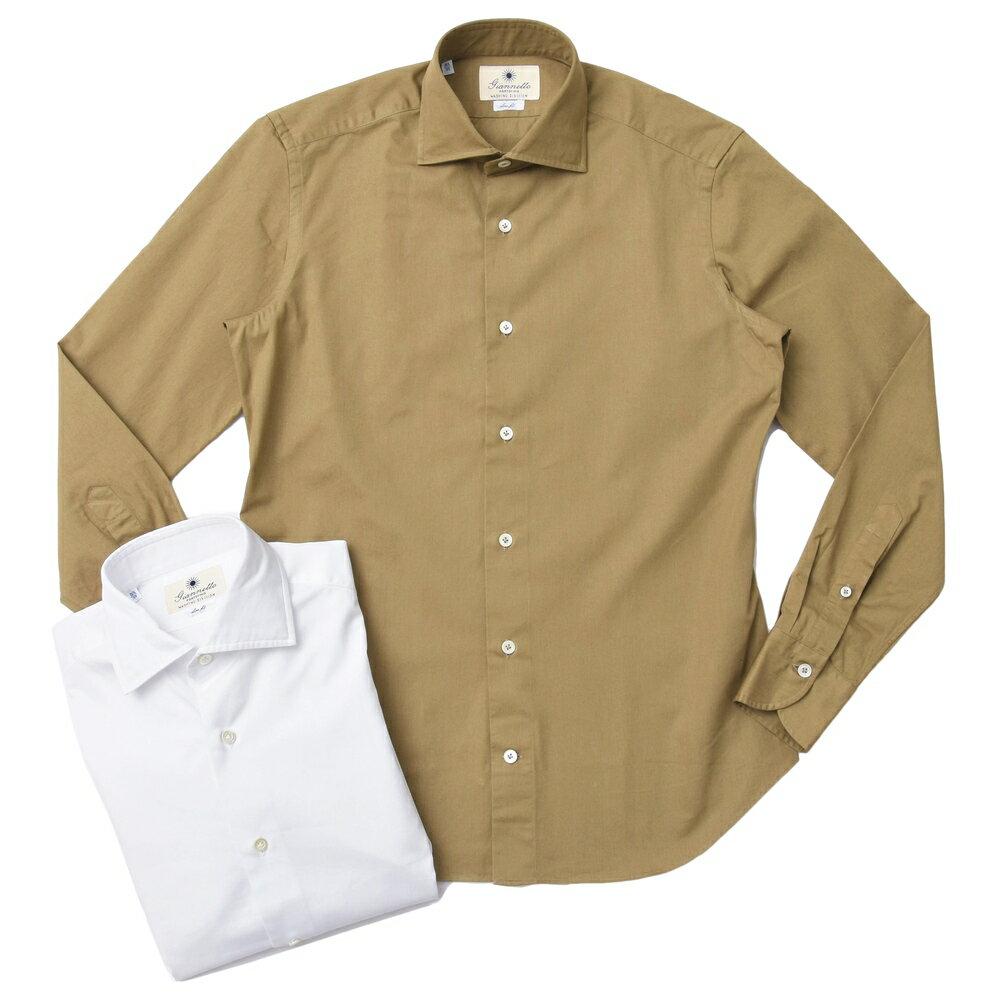 【SALE30】Giannetto(ジャンネット)ウォッシュドコットンギャバジンセミワイドカラーシャツ SLIM FIT/7G11230L81 41072000109