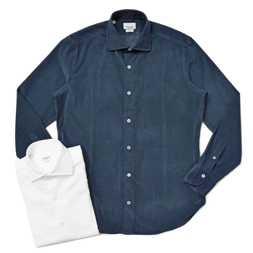 【SALE30】Giannetto(ジャンネット)ウォッシュドコットンベビーコーデュロイセミワイドカラーシャツ SLIM FIT/7G30030L81 41072002109