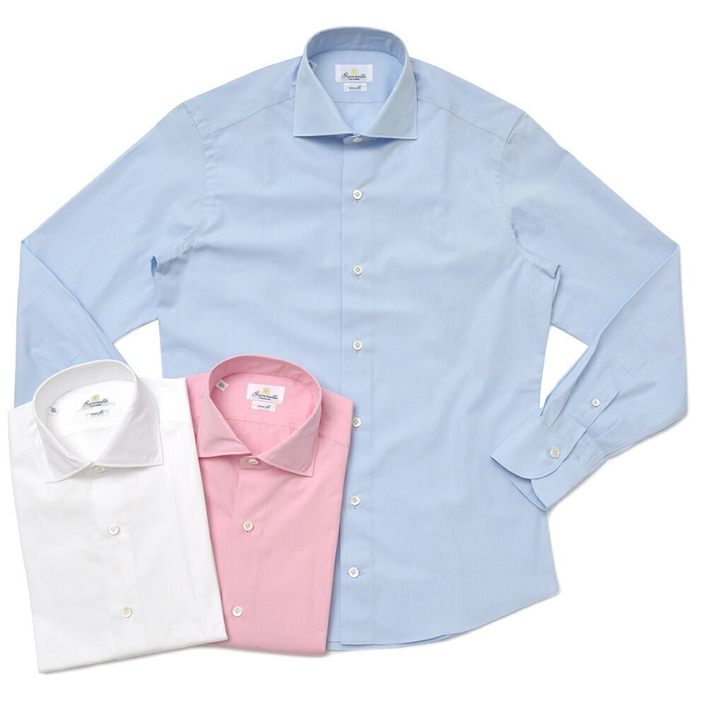 【MORE SALE30】Giannetto(ジャンネット)ウォッシュドコットンブロードソリッドセミワイドカラーシャツ VINCH FIT/8G10330V81 11081000109