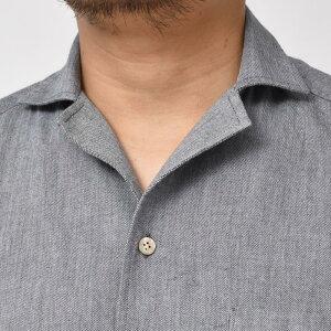 Bagutta(バグッタ)ウォッシュドコットンフランネルソリッドオープンカラーシャツALOHAK/0827611082002054