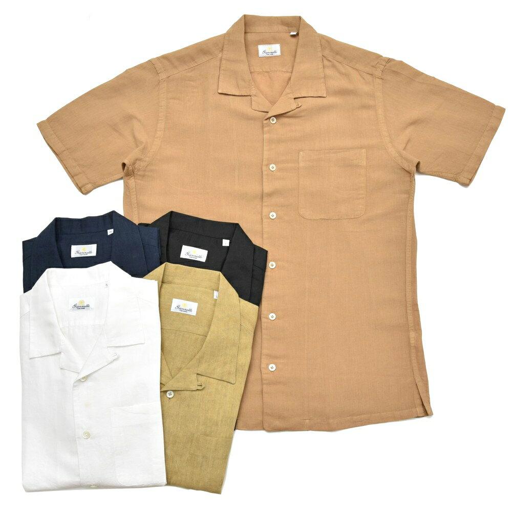 【MORE SALE30】Giannetto(ジャンネット)ウォッシュドリネンコットンオープンカラーS/Sシャツ BOWLING/8G831BOWMM 41081010109