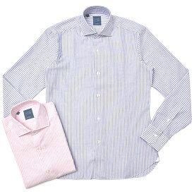 BARBA(バルバ)DANDY LIFE 102 ウォッシュドコットンピンオックスストライプセミワイドカラーシャツ(コルト丈) LGU026U00654R 11082004022