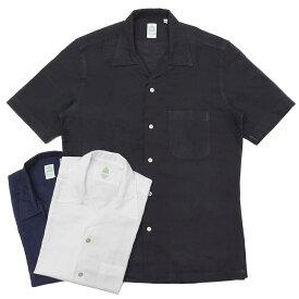 Finamore(フィナモレ)BARTバルト ウォッシュドコットンリネンソリッドS/Sオープンカラーシャツ P9063 11091002039