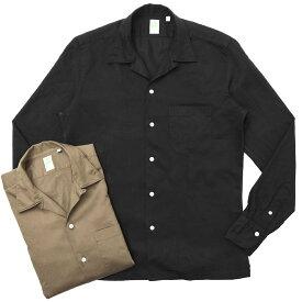 Finamore(フィナモレ)MILOSミロス ウォッシュドコットンリネンツイルソリッドオープンカラーシャツ P9056 11091009039
