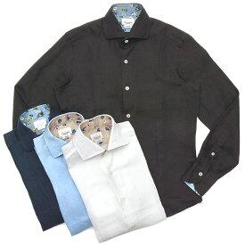 Giannetto(ジャンネット)リネンソリッドフラワーコンビセミワイドカラーシャツ VINCI FIT/AG8333PV81 11091011109
