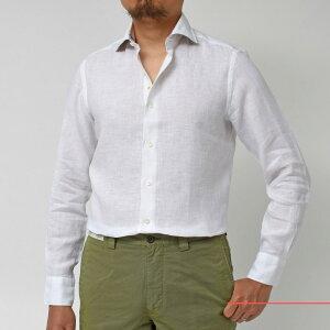 Giannetto(ジャンネット)リネンソリッドフラワーコンビセミワイドカラーシャツVINCIFIT/AG8333PV8111091011109