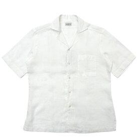 【MORE SALE30】Bagutta(バグッタ)ウォッシュドスーパーファインピュアリネンソリッドS/Sオープンカラーシャツ MAUI GM/0045 11091011054