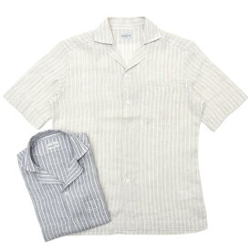 【MORE SALE30】Bagutta(バグッタ)ウォッシュドリネン白抜きストライプS/Sオープンカラーシャツ MAUI GM/9275 11091012054