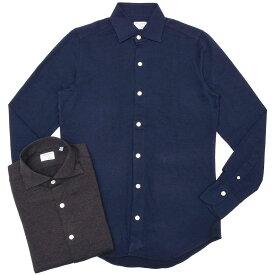 Finamore(フィナモレ)LUIGIルイジ/TRONTOトロント コットンヘリンボーンジャージワイドカラーシャツ A9010J 11092000039