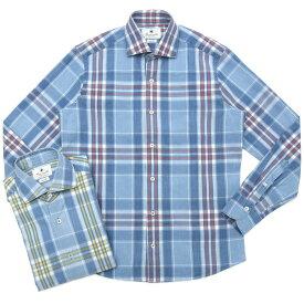 【SALE30】Giannetto(ジャンネット)コットンシャンブレ—タータンチェックセミワイドカラーシャツ VINCI FIT/385300V81 11001004109