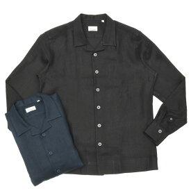 【SALE30】Giannetto(ジャンネット)リネンソリッドオープンカラーシャツジャケット NEW CARAIBI/01845 17001004109