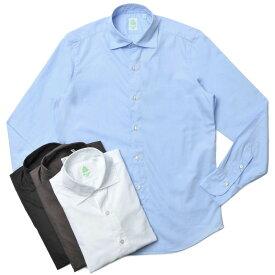 Finamore(フィナモレ)LUIGIルイジ/BALIバーリ ウォッシュドコットンブロードソリッドワイドカラーシャツ C0147 11002001039