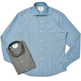 【SALE30】Giannetto(ジャンネット)コットンシャンブレーソリッドセミワイドカラーシャツ VINCI FIT/354300V81 11011006109
