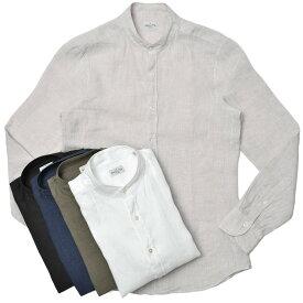 Bagutta(バグッタ)ウォッシュドリネンソリッドバンドカラーシャツ CANNES GL/00045 11011000054