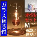 【フロ【M】4芯15 200オイル】【,ガラス替芯付】ガラスキャンドル オイルランプクールフローティングボトル【M】OLC-02 TYPE BURNERWOR…