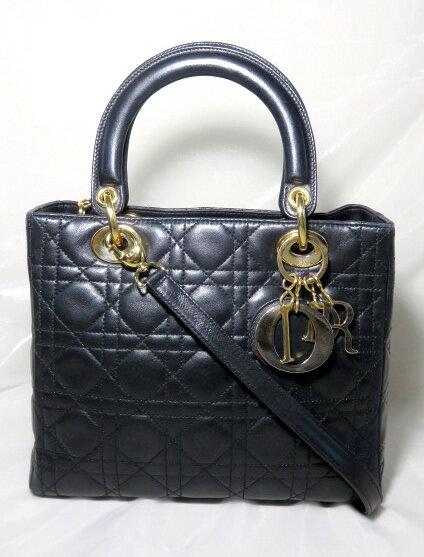 【美品】Christian Dior クリスチャン・ディオール レディディオール カナージュ ラムスキン 2wayバッグ ハンドバッグ NOIR ブラック 【中古】