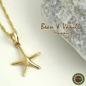 ハワイアンジュエリーBean Vanilla K14ゴールド スターフィッシュ ネックレス14金 k14 YG イエロー ゴールド レディース 女性用 プレゼント ギフトBOX