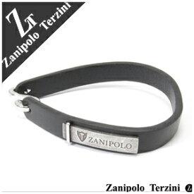 ブラック ブランドプレートレザーブレスレット 幅約1.0cm 17.5cm Zanipolo Terzini レザ- メンズ レザーブレス 牛皮 男性用 牛革製プレゼント 人気 彼氏 おしゃれ