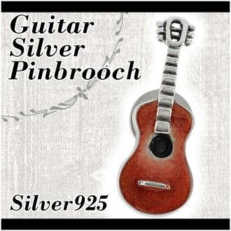 기타 (컬러) 실버 핀 브 로치 실버 악세사리 실버 브 로치 여성용 브 로치 잠금 기타 악기 로치 Broach 실버 핀 브 로치