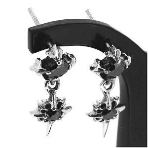 ジルコニア ドロップピアス 2P 両耳用 ブラックCZ フレア スター ピアス イヤリング シルバー925 銀 シルバーアクセサリー メンズ レディース 男性 女性 アクセサリー ギフト プレゼント おし