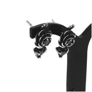 ローズ ドロップピアス 2P 両耳用 ブラックCZ 薔薇 バラ ブラックジルコニア ピアス イヤリング シルバー925 銀 シルバーアクセサリー メンズ レディース 男性 女性 アクセサリー ギフト プレ
