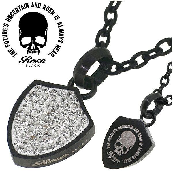 ロエン Roen BLACK スカル シールド型 リバーシブル ネックレス メンズ ロエンブラック ローエンブラック サージカルステンレス 金属アレルギーフリー クリスタルガラス ブランド ステンレスアクセサリー ドクロ プレゼント 人気 おしゃれ