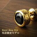 K23 ロイヤルゴールドプレーティング 限定 ブラック ラウンド 一粒 スタッドピアス 1P 片耳用 ゴールドカラー シルバ…