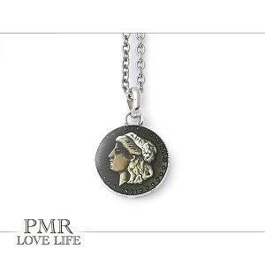 PMR ピーエムアール ラッキー コイン ネックレス チェーン付き シルバーネックレス 古美 ゴールド シルバー925 小さめ メンズネックレス アクセサリー アクセ ペンダント 首飾り メンズ ブラ