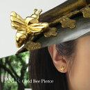 ゴールドハニービースタッドピアス1P片耳用シルバー925ゴールドカラーコーティングシンプルハチミツバチ蜂蜜蜂スタッズピアスピアス昆虫立体華奢小さめかわいいスタイリッシュ女性男性人気おしゃれかっこいい