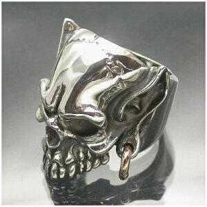 Catalonia 18金ピアス デビル スカル シルバーリング 11〜27号 スカルリング ドクロ 骸骨 メンズ リング 男性用 指輪 悪魔 銀の蔵 メンズリング 男性用指輪 ブランド プレゼント 人気 彼氏 おしゃ
