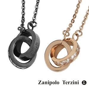 ザニポロタルツィーニサージカルステンレスダブルリングペアネックレスメビウスの帯メンズレディースアクセサリー金属アレルギーフリーブラックカラーピンクゴールドペアアクセお揃いカップルプレゼントブランド人気おしゃれ