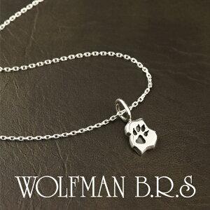 ウルフマン ウルフフットチャーム ペンダント チェーン付 シルバー ネックレス ウルフマンBRS ペンダント 狼 オオカミ 足跡 小ぶり プレート ブランド メンズ メンズネックレス シルバー925