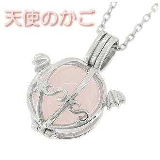天使笼玫瑰石英银项链 (大) 妇女项链天然石石女士女士女士项链吊坠银项链女性 10 毫米