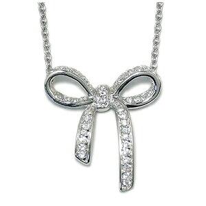 ジルコニア リボン シルバーネックレス レディース ネックレス 925 銀の蔵ネックレス 女性用 ペンダント レディースネックレス ネックレスレディース プレゼント 人気 かわいい おしゃれ