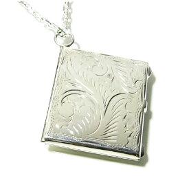 植物模様のスクエアシルバーロケットネックレス SILVER 925 銀の蔵 レディース ネックレス 女性用 ペンダントネックレス プレゼント 人気 かわいい おしゃれ