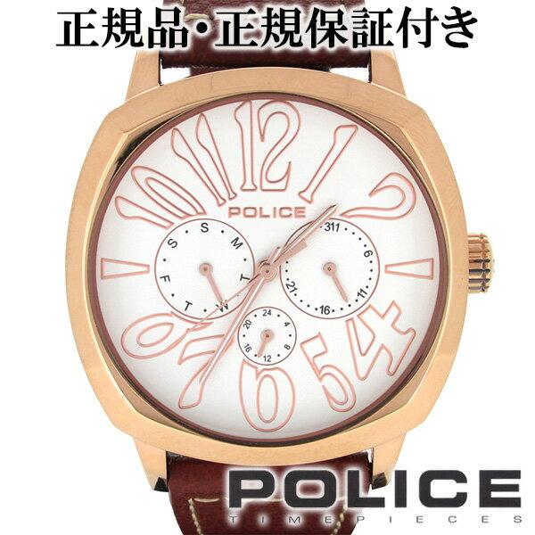POLICE ポリス TORINO トリノ ホワイト ピンク マルチファンクション レザーベルト ウォッチ レザー メンズ 腕時計 時計 アクセサリー フォーマル ファッション メンズ腕時計 人気腕時計 ブランド時計 プレゼント 男性 おしゃれ