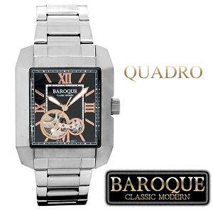 バロックQUADROクアドロウォッチ(ブラック)BA2004S-02M腕時計時計メンズ紳士かっこいいクォーツステンレスベルトレクタンギュラークラシックヴィンテージ日本製ムーブメント電池式人気プレゼント彼氏おしゃれ