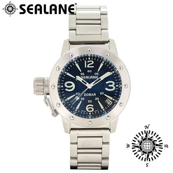 SEALANE シーレーン SE42 シリーズ ブルー メタルベルト ウォッチ クォーツ 日付 時計 メンズ 腕時計 SE42-MABL ブランド プレゼント 人気 おしゃれ