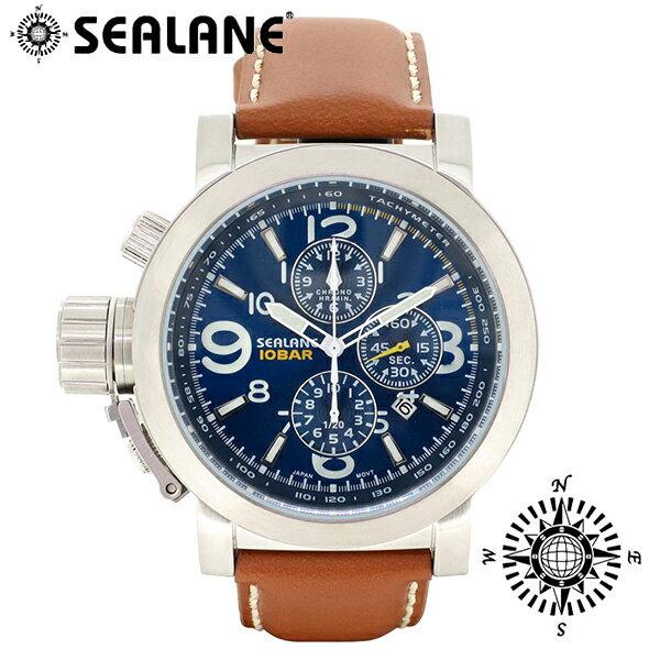 SEALANE シーレーン SE44 シリーズ ブルー 牛本革ベルト ウォッチ 革ベルト クロノグラフ 日付 時計 メンズ 腕時計 SE44-LBL メンズ腕時計 人気腕時計 ブランド時計 プレゼント おしゃれ