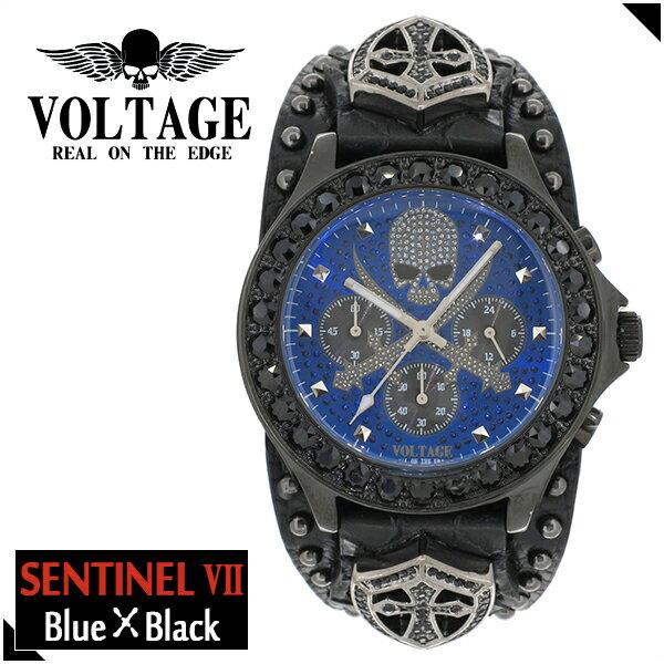 VOLTAGE センチネル7 ブルー スカル クロスソード クロノグラフ メンズ 腕時計 時計 アクセサリー パンク ロック ファッション ヴォルテージ ボルテージ メンズナックル センティネル Sentinel ブランド プレゼント 人気 おしゃれ