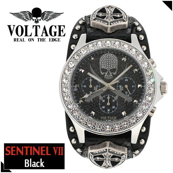 VOLTAGE センチネル7 ブラック スカル クロスソード クロノグラフ メンズ 腕時計 時計 アクセサリー パンク ロック ファッション ヴォルテージ ボルテージ メンズナックル センティネル Sentinel ブランド プレゼント 人気 おしゃれ