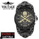 VOLTAGEセンチネル7ブラックゴールドスカルクロスソードメンズ腕時計時計アクセサリーパンクロックファッションヴォルテージボルテージメンズナックルセンティネルSentinelブランドプレゼント人気おしゃれ